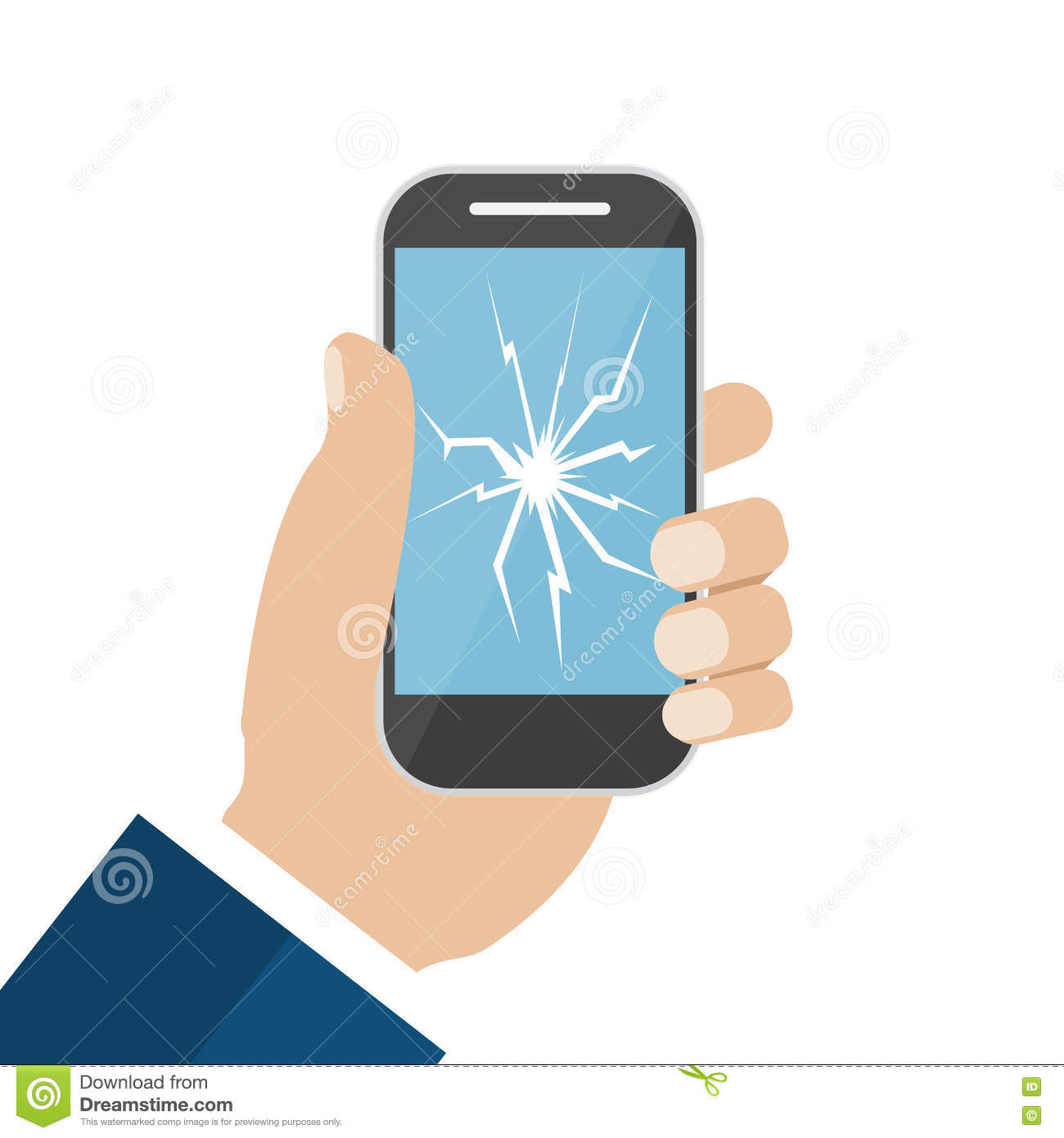 Hand Holding Broken Screen Phone Stock Vector - Image ...