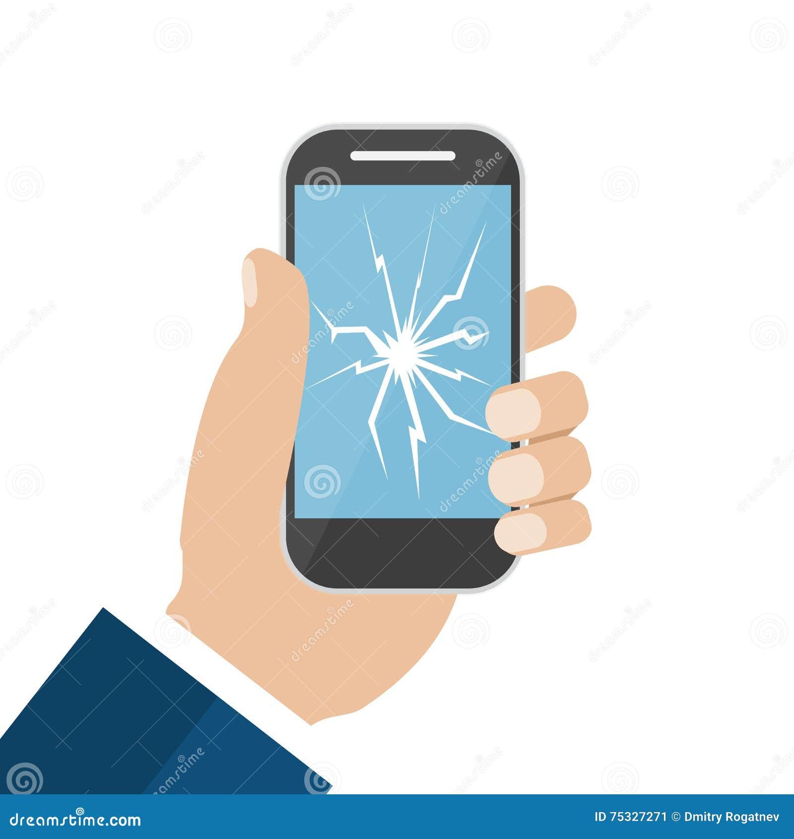 Hand Holding Broken Screen Phone Stock Vector - Image ...
