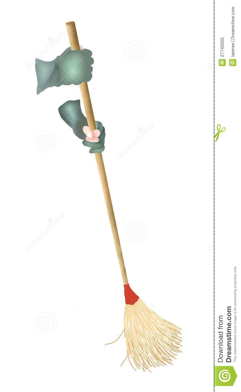 hand holding a broom sweeping the floor stock illustration