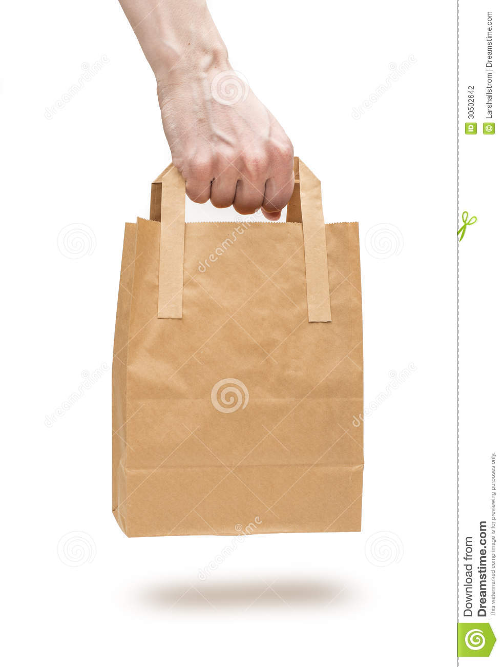 Hand Holding Brown Paper Bag Stock Photo Image Of