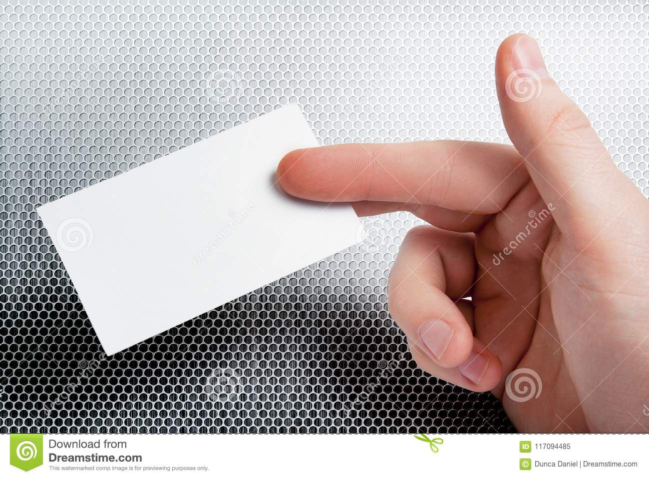 Hand holding business card with blank copy space