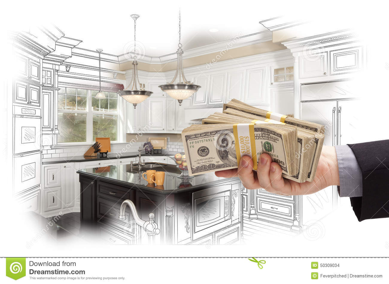 Where Your Money Goes In A Kitchen Remodel: Hand Holding Cash Over Kitchen Design Drawing And Photo