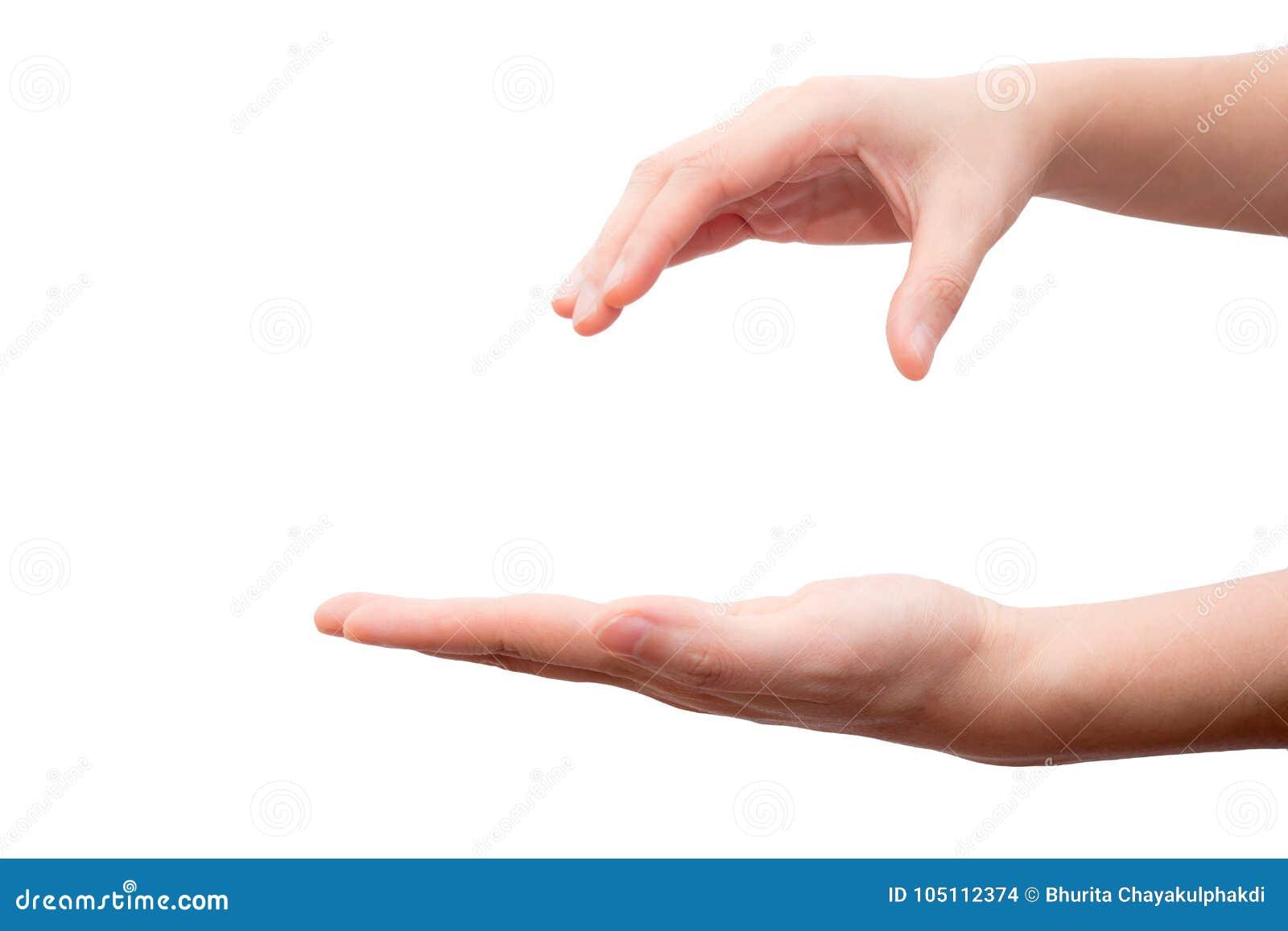 Hand holding and catching something isolated on white background.