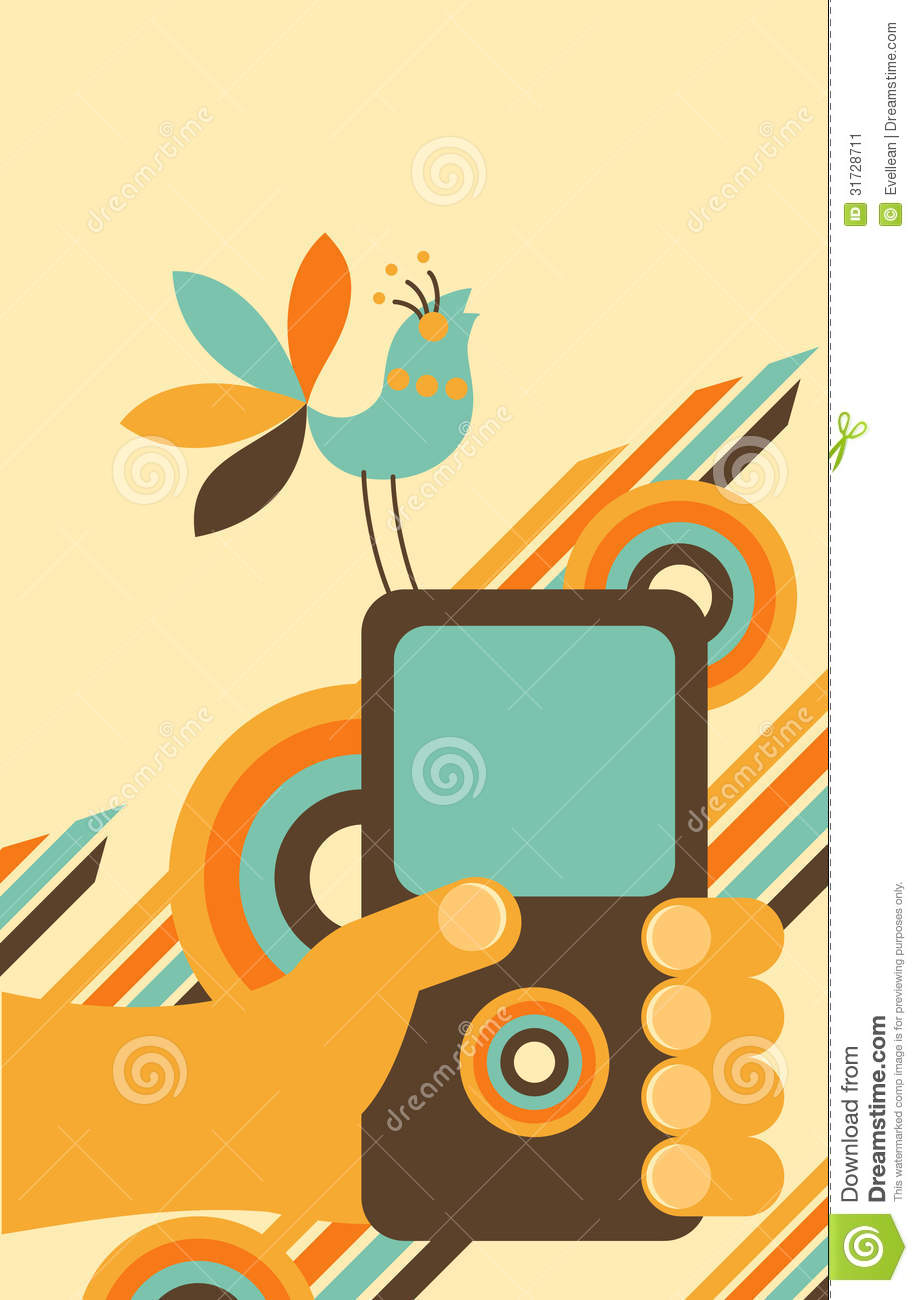 Hand Holding    Cell       Phone    With Bird Stock Image  Image