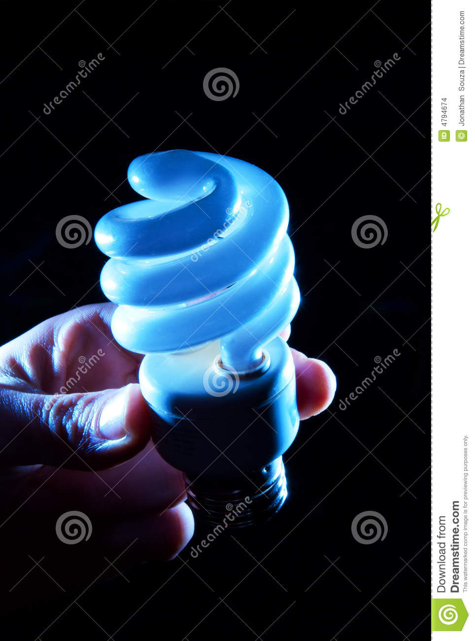 Hand Holding A Compact Fluorescent Light (CFL) Royalty ...