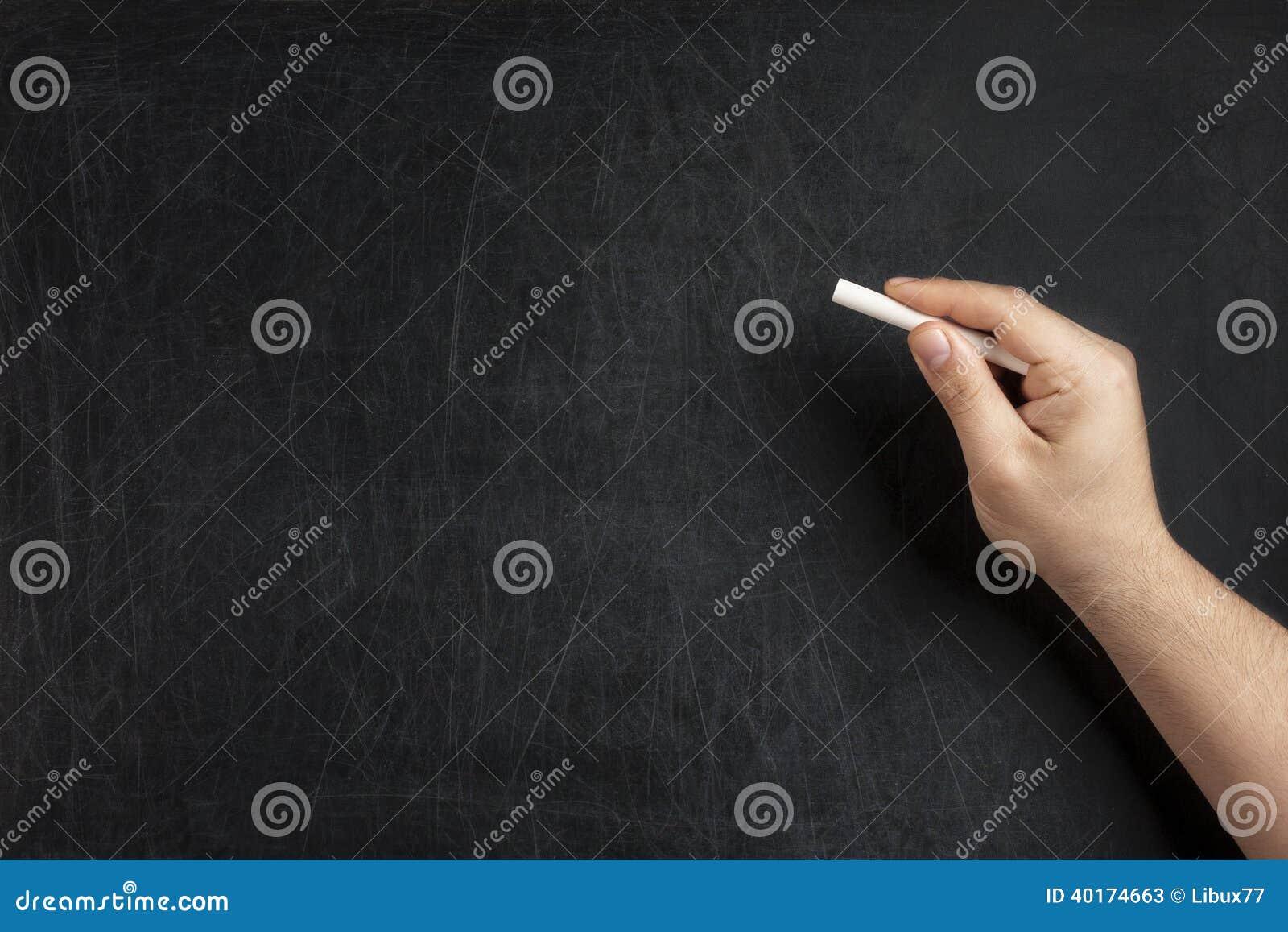 Hand Holding Chalk Blank Blackboard