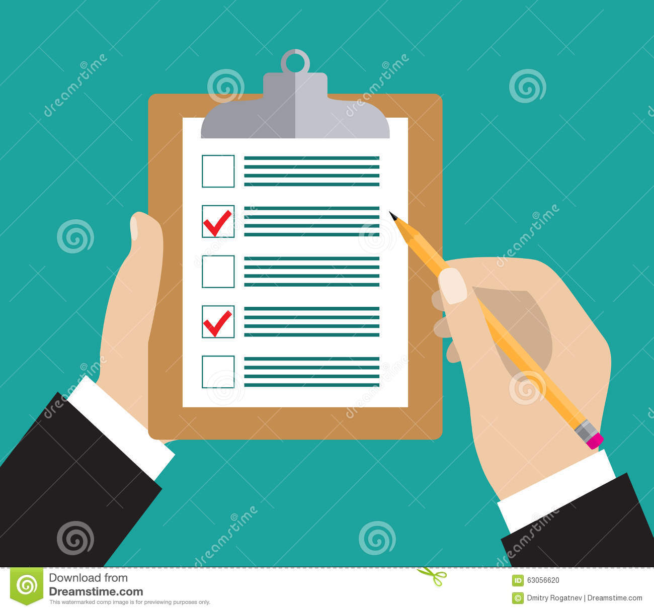 Hand Holding Clipboard With Checklist And Pencil Stock Vector Image 63056620