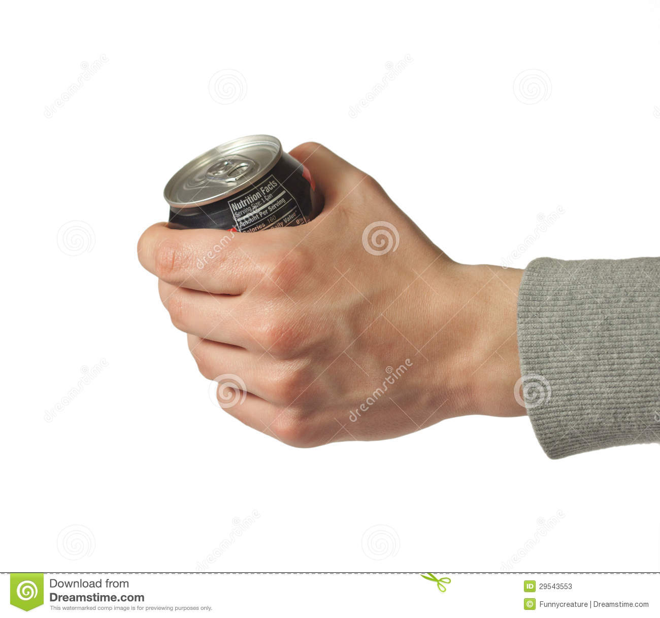 Hand Holding Closed Can Of Soda Stock Photos - Image: 29543553