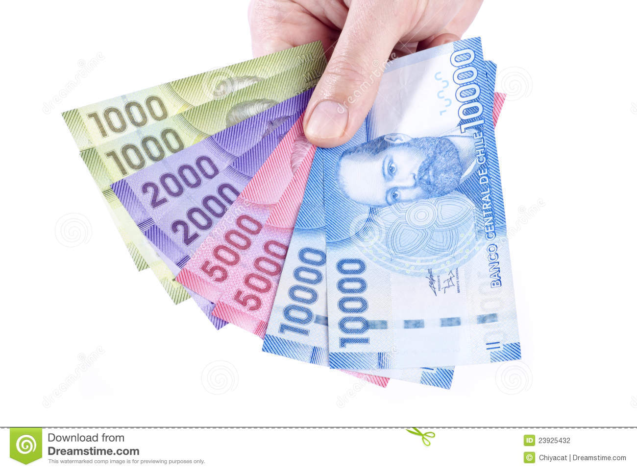 Hand Holding Colorful Chilean Pesos Closeup Stock Photo Image Of 2000 Money 23925432