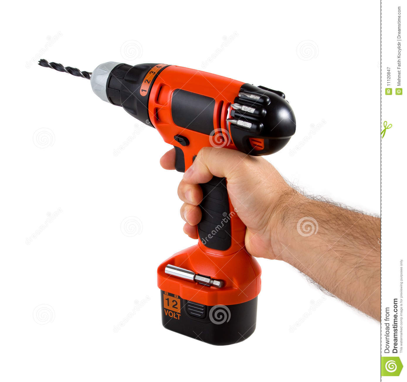 hand holding cordless drill stock image image of power. Black Bedroom Furniture Sets. Home Design Ideas
