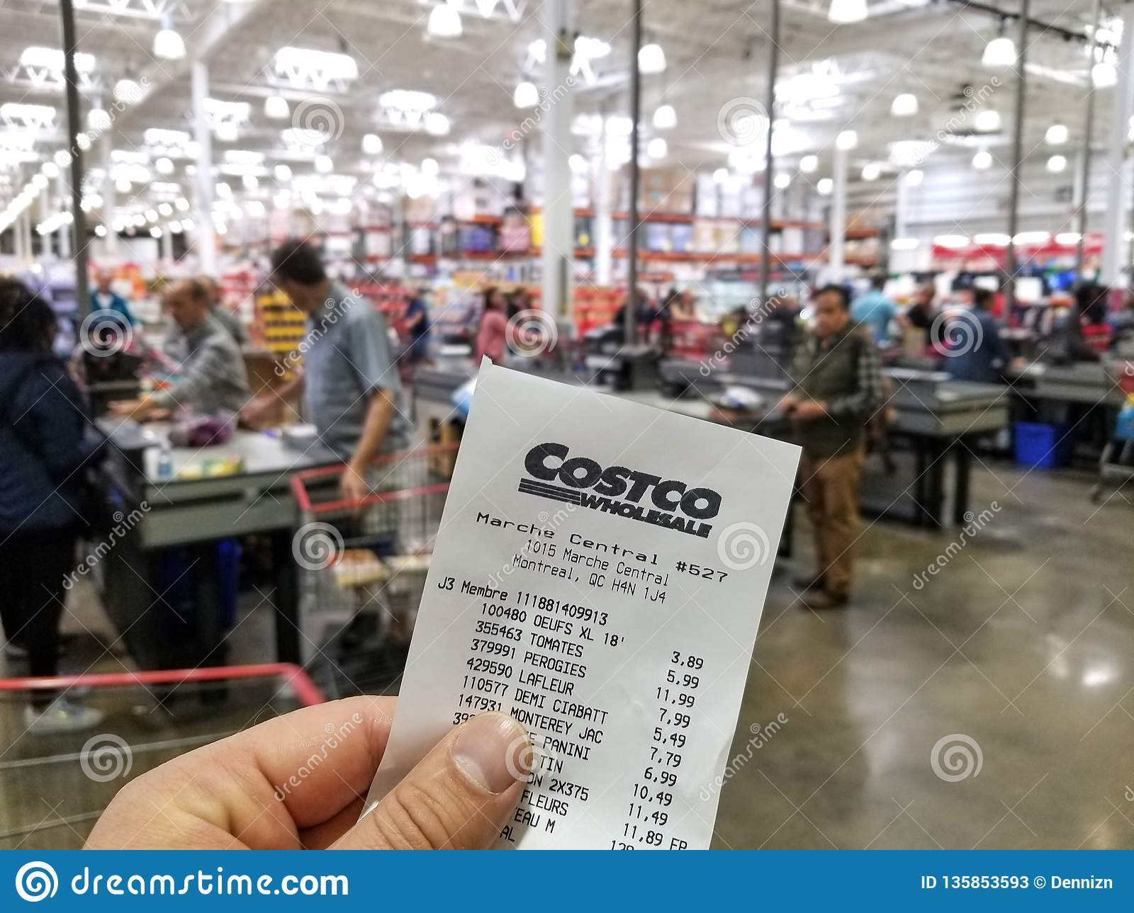 A Hand Holding Costco Receipt Editorial Stock Photo - Image of