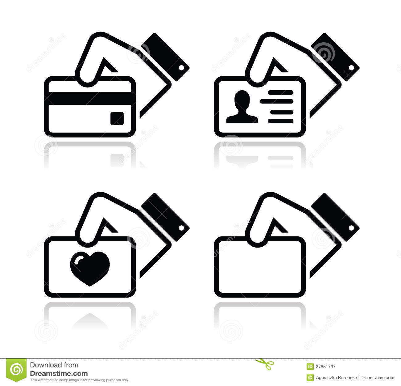 hand holding credit card business card icons stock illustration