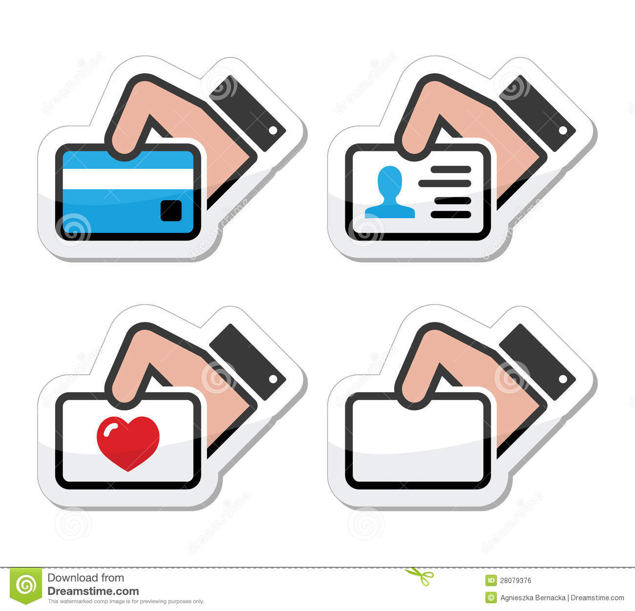 Hand Holding Credit Card Business Card Icons Set Stock