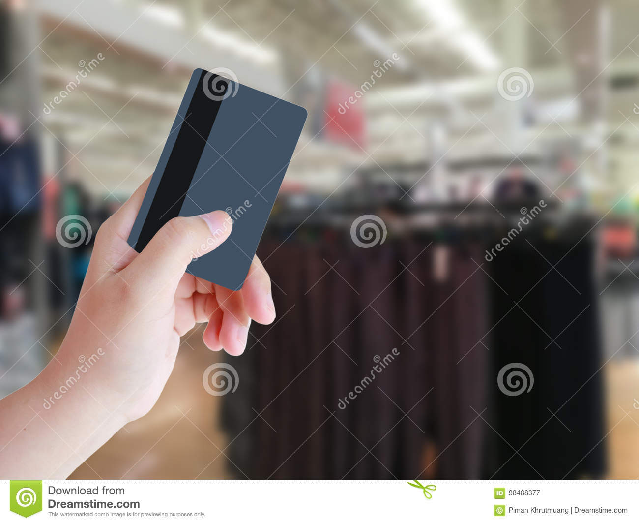 Hand Holding Credit Card With Clothing Store Stock Image Image Of