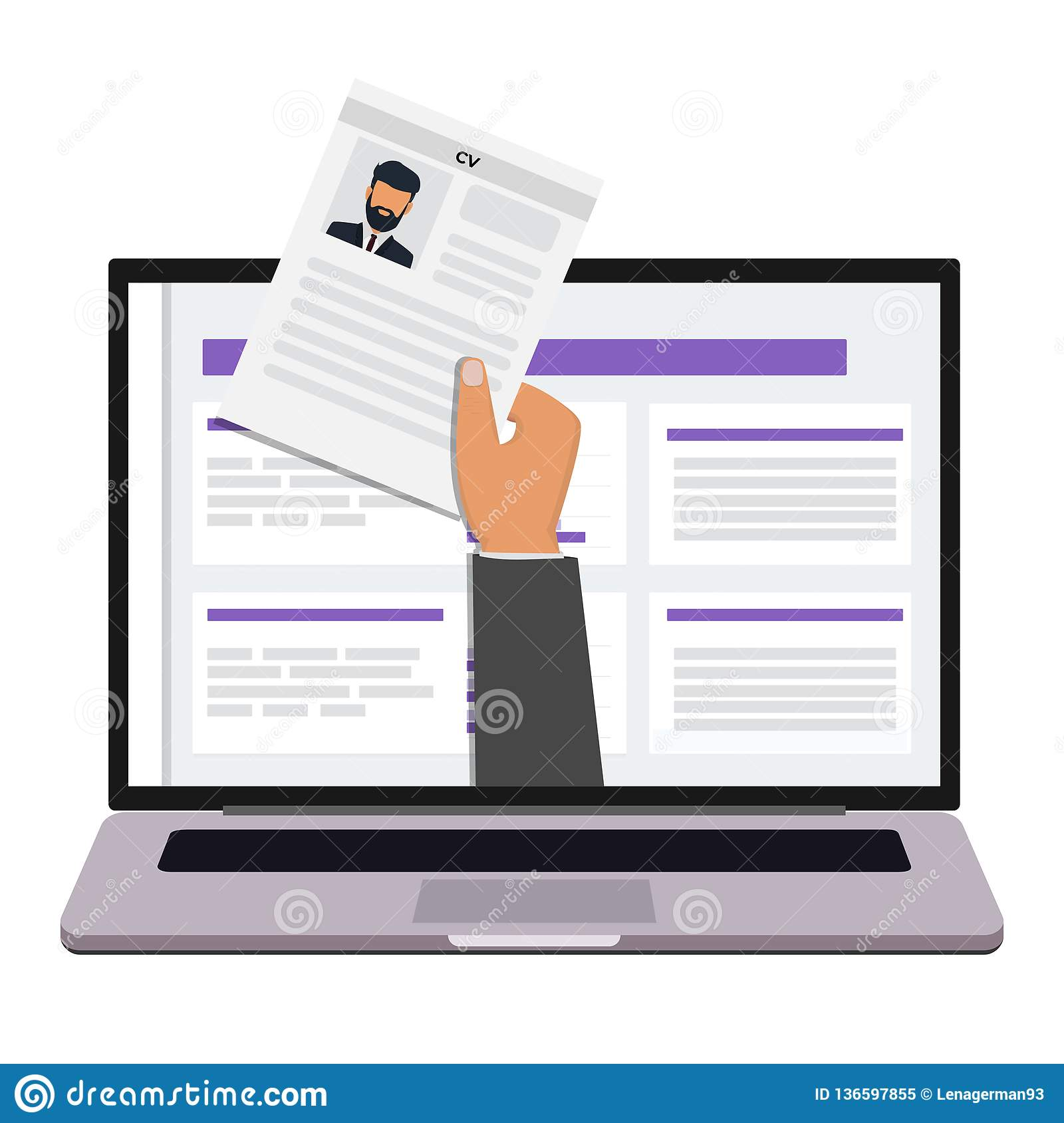 Hand Holding Cv Paper Job Agency Hr Management Concept Searching