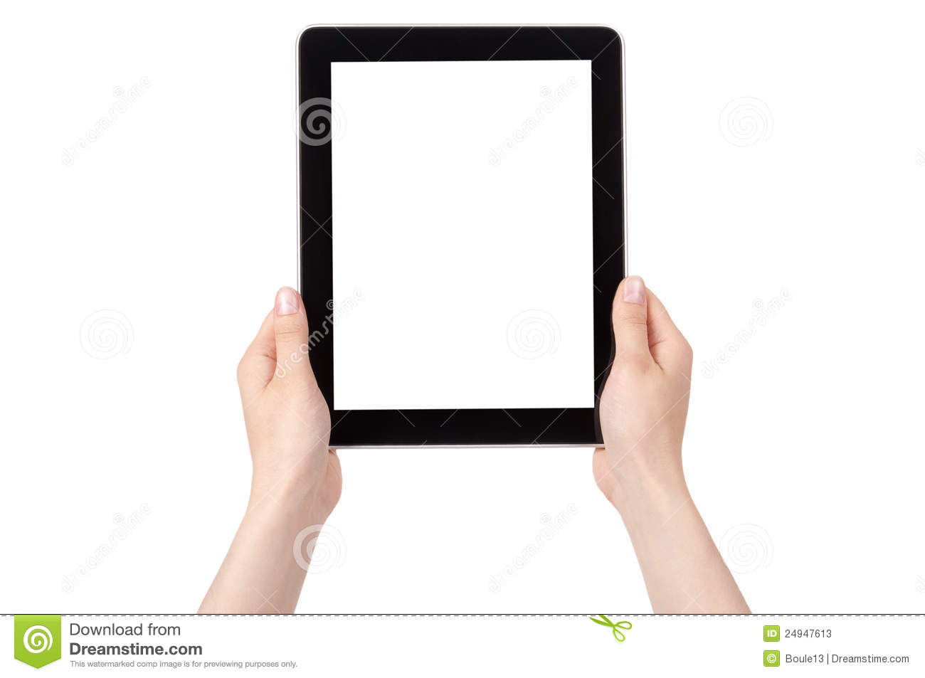 Hands of a woman holding digital tablet displaying a white screen.