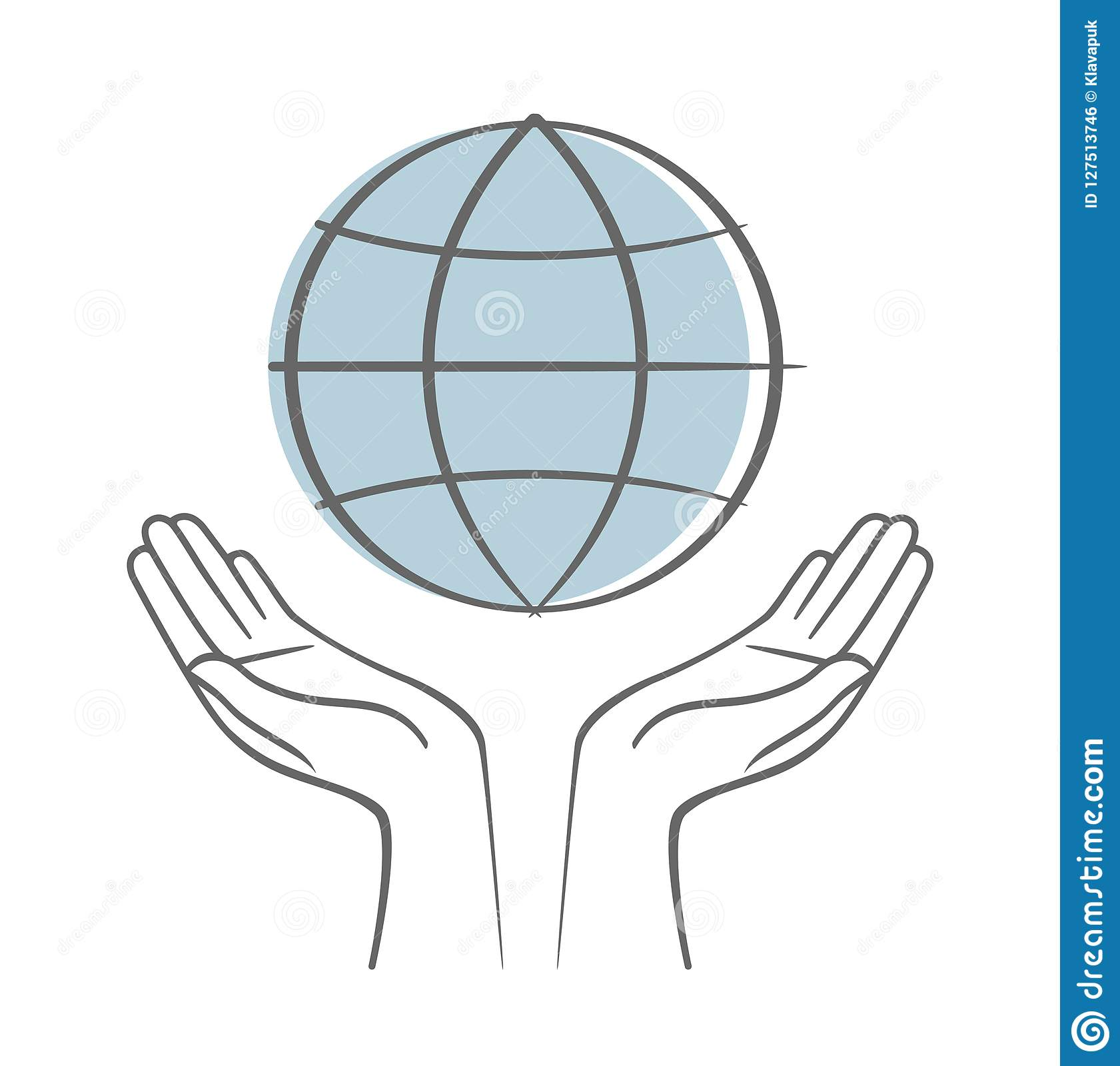 Hand Holding Earth Save Earth Concept Vectors Symbol Stock