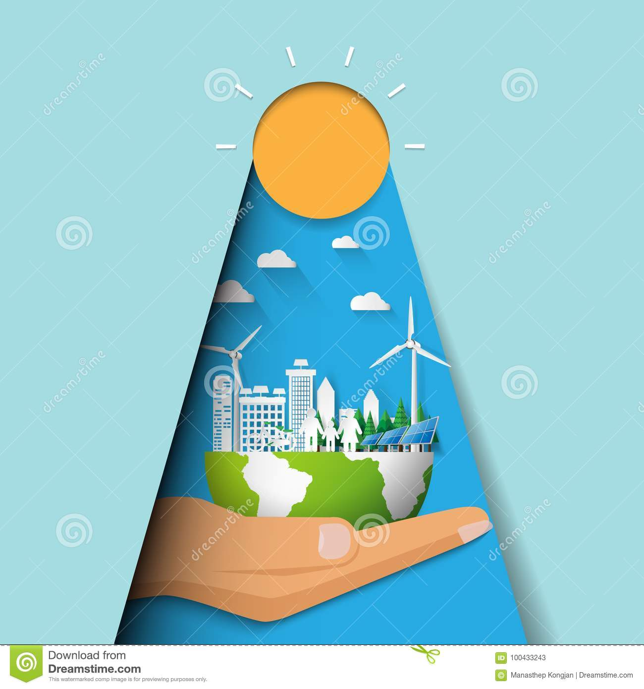 Hand holding eco city and cityscape concept paper cut design