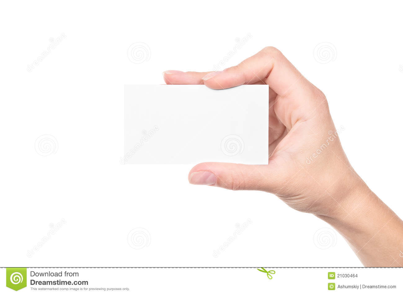 Hand Holding An Empty Business Card Stock Images - Image: 21030464