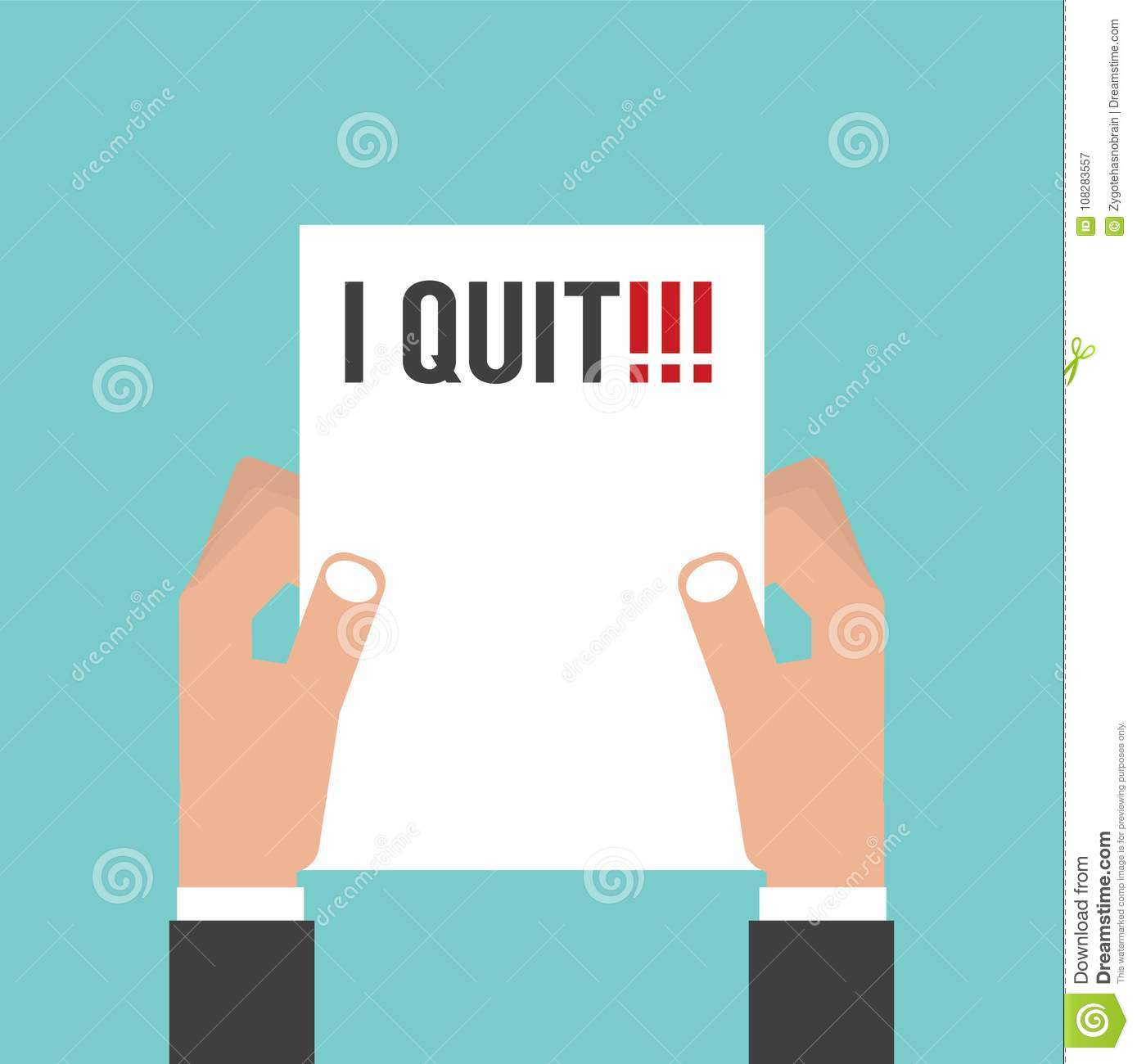 hand holding envelope with text i quit job resignation letter