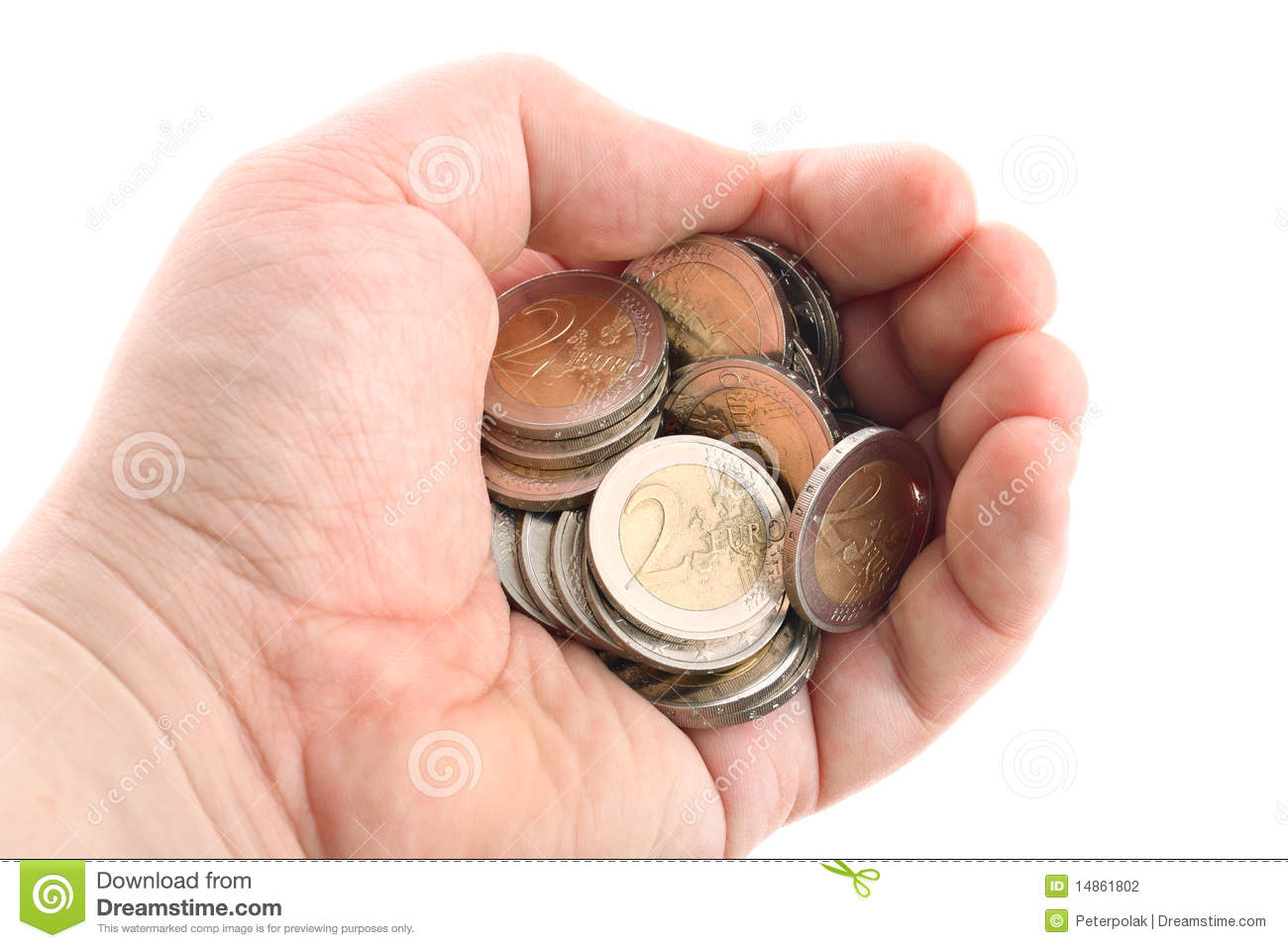 Hand holding euro coins isolated on white