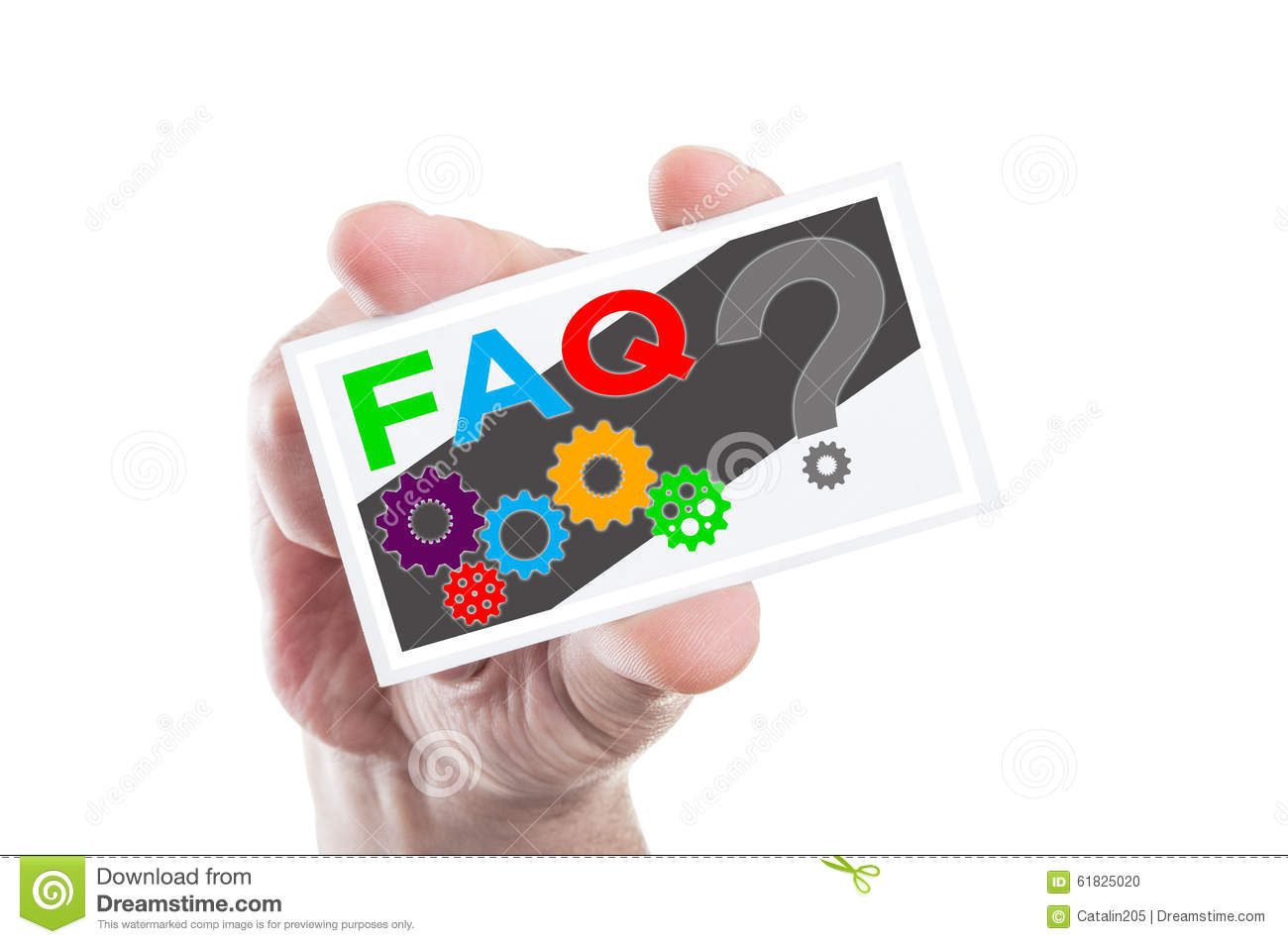 Hand holding FAQ or frequently asked questions card