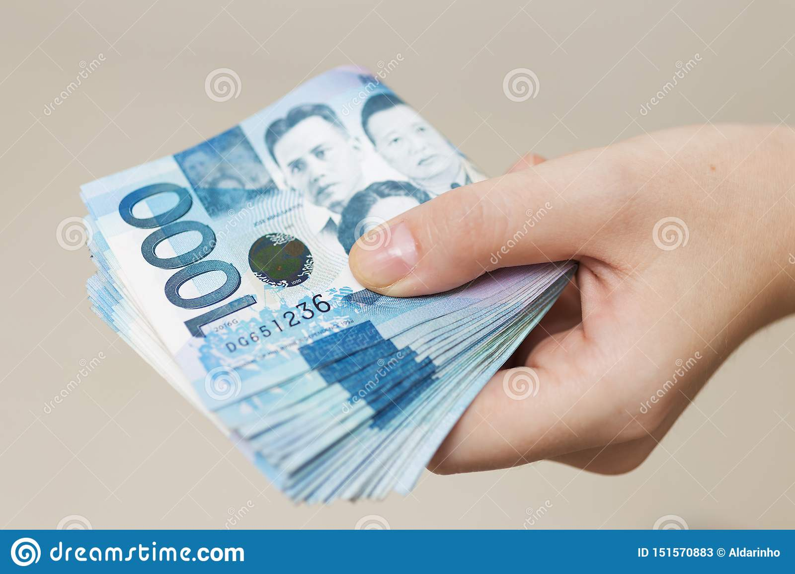 Prime Hand Holding Folded Bundle Of Blue Money In Cash Of One Home Interior And Landscaping Oversignezvosmurscom