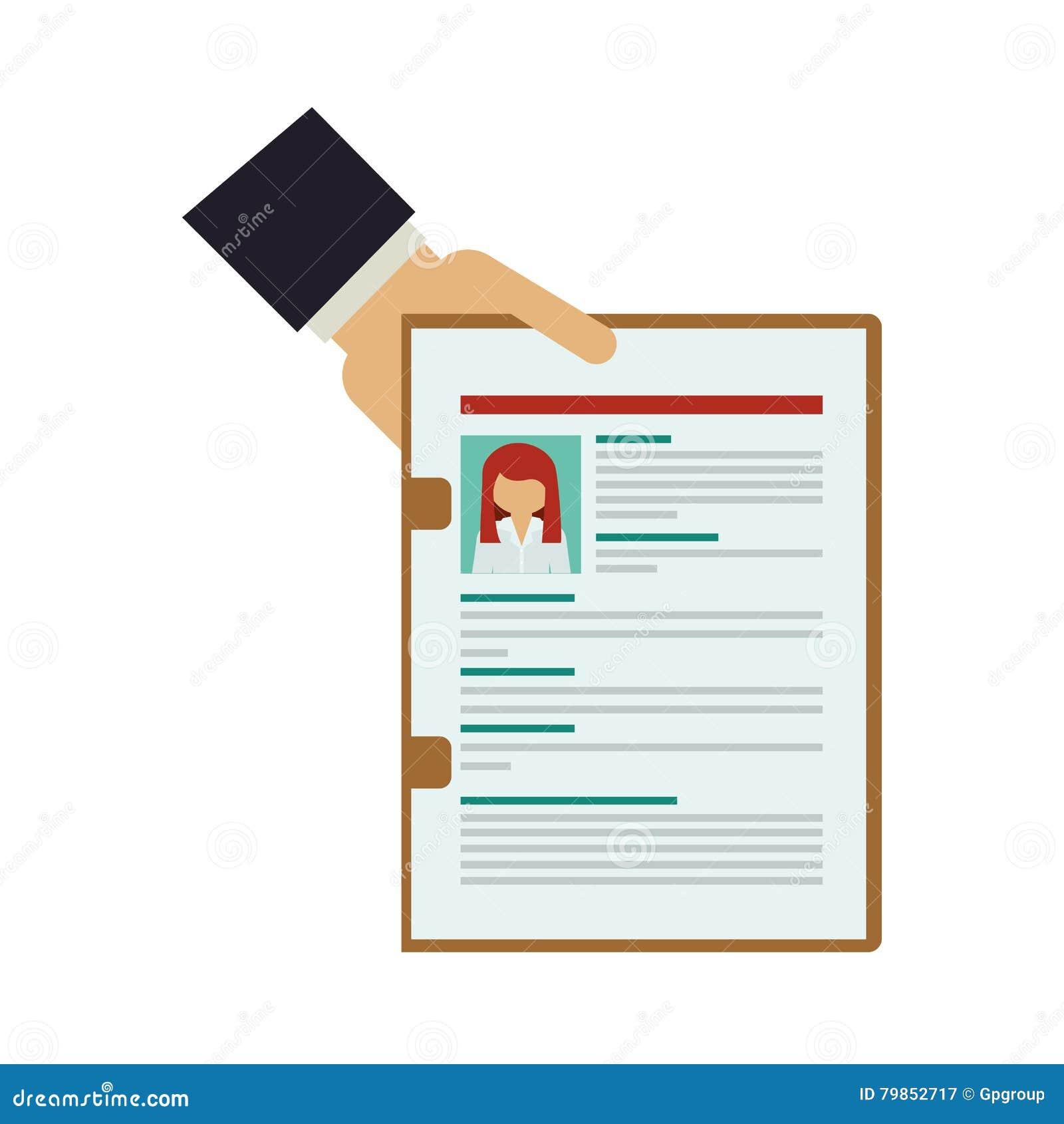 hand holding folder with curriculum vitae