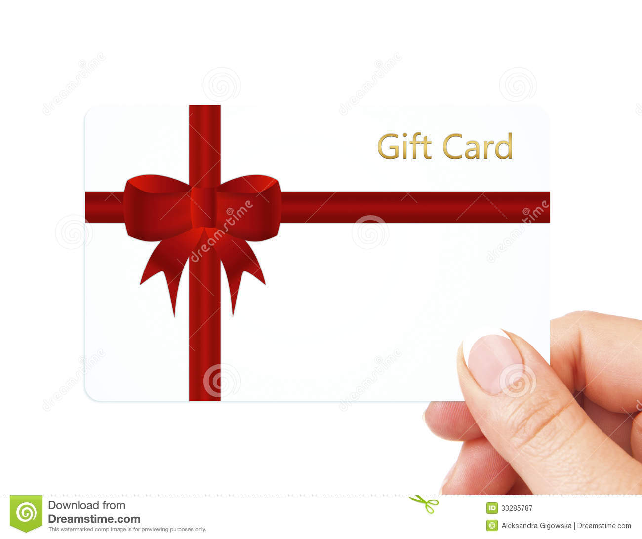 Hand Holding Gift Card Isolated Over White Stock Image Image Of