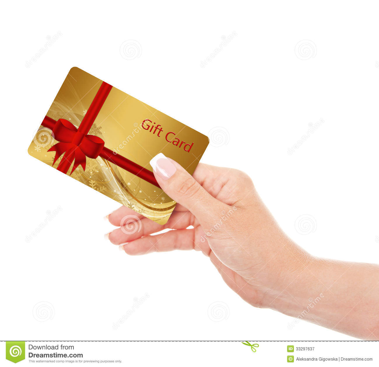 Hand Holding Gift Card Isolated Over White Royalty Free ...