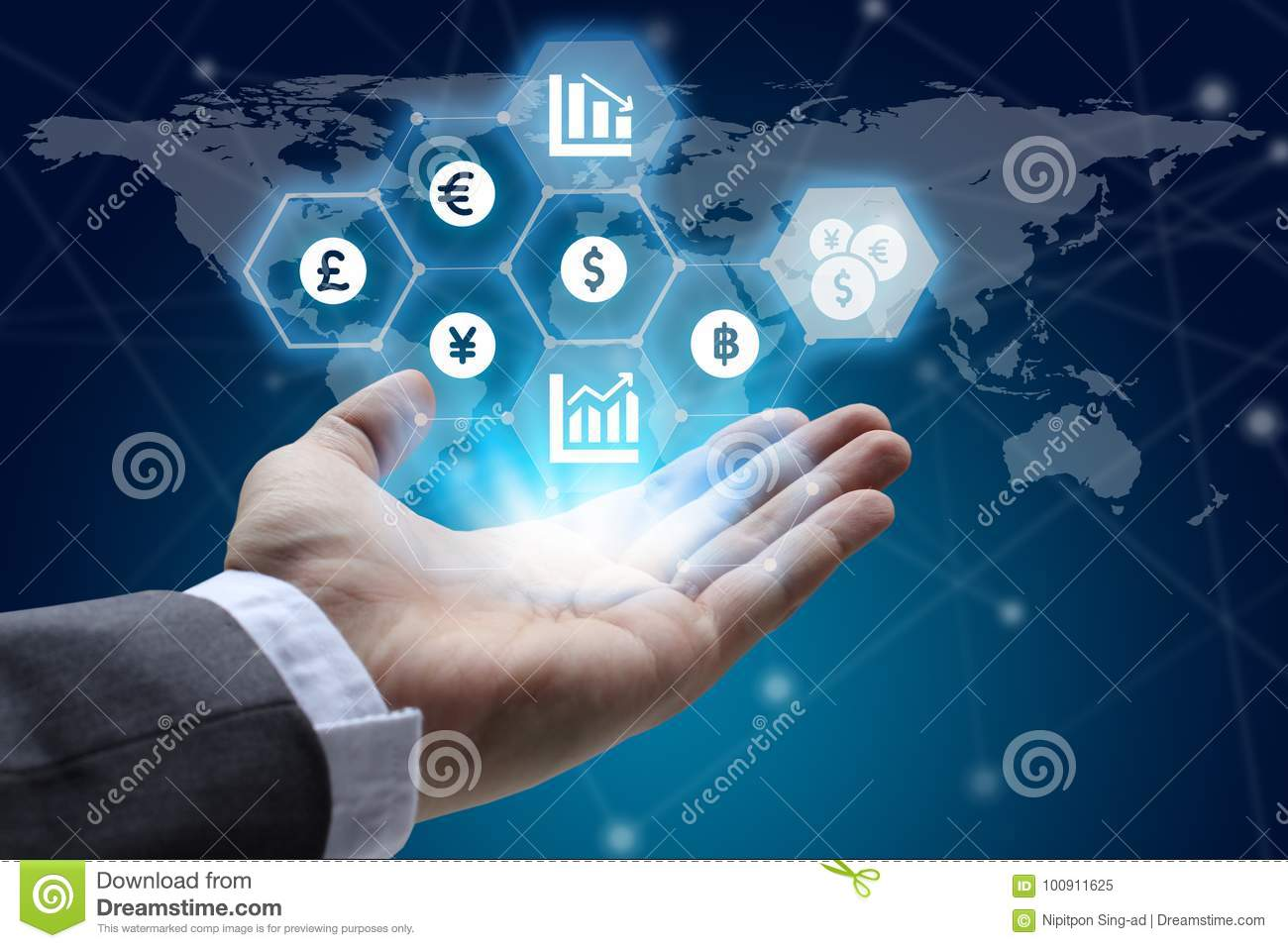 hand holding global network using Currencies sign symbol interface of Fintech over the Network connection of World map background