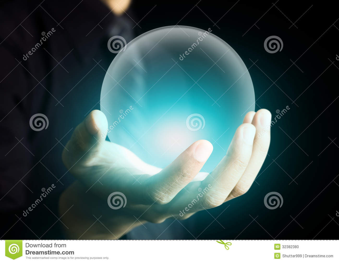 Hand Holding A Glowing Crystal Ball Stock Photo Image