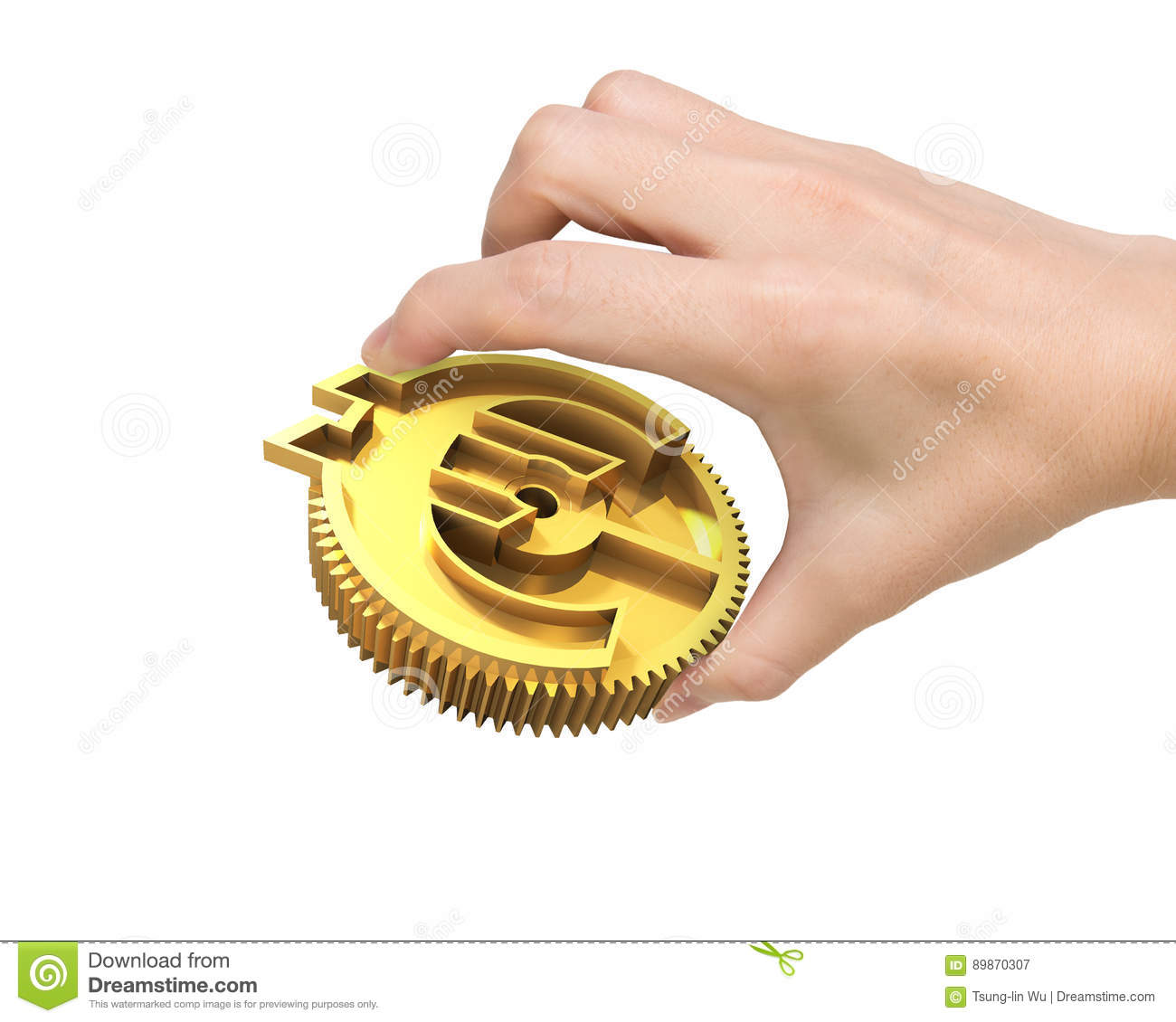 Hand Holding Golden Gear With Currency Symbol Stock Image Image Of