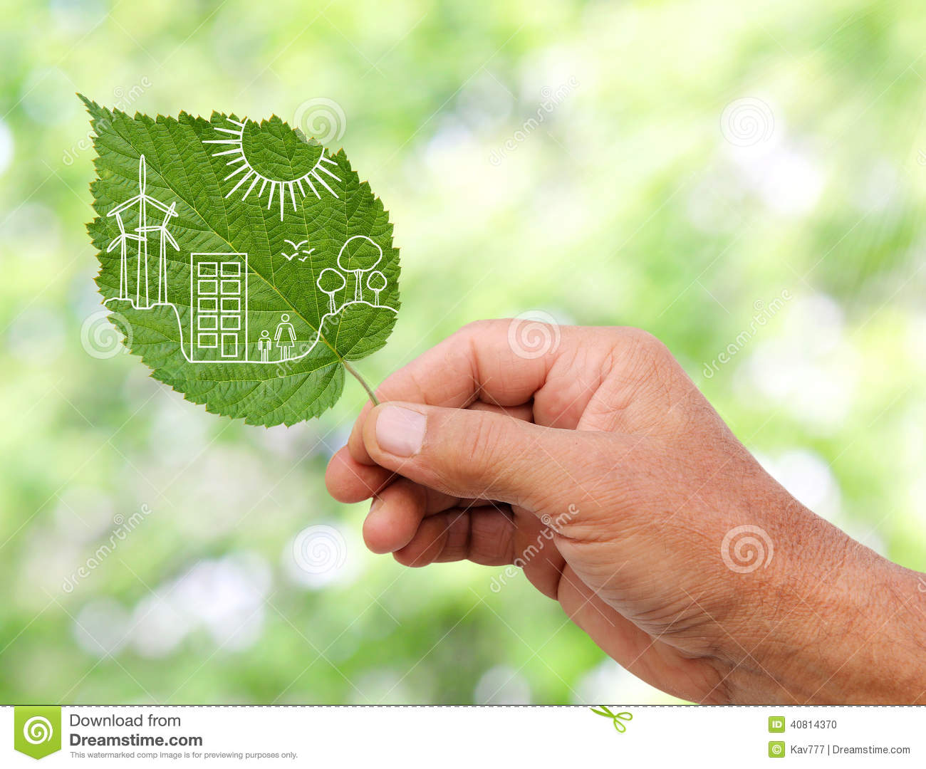 Hand Holding Green City Concept Cut The Leaves Of Plants