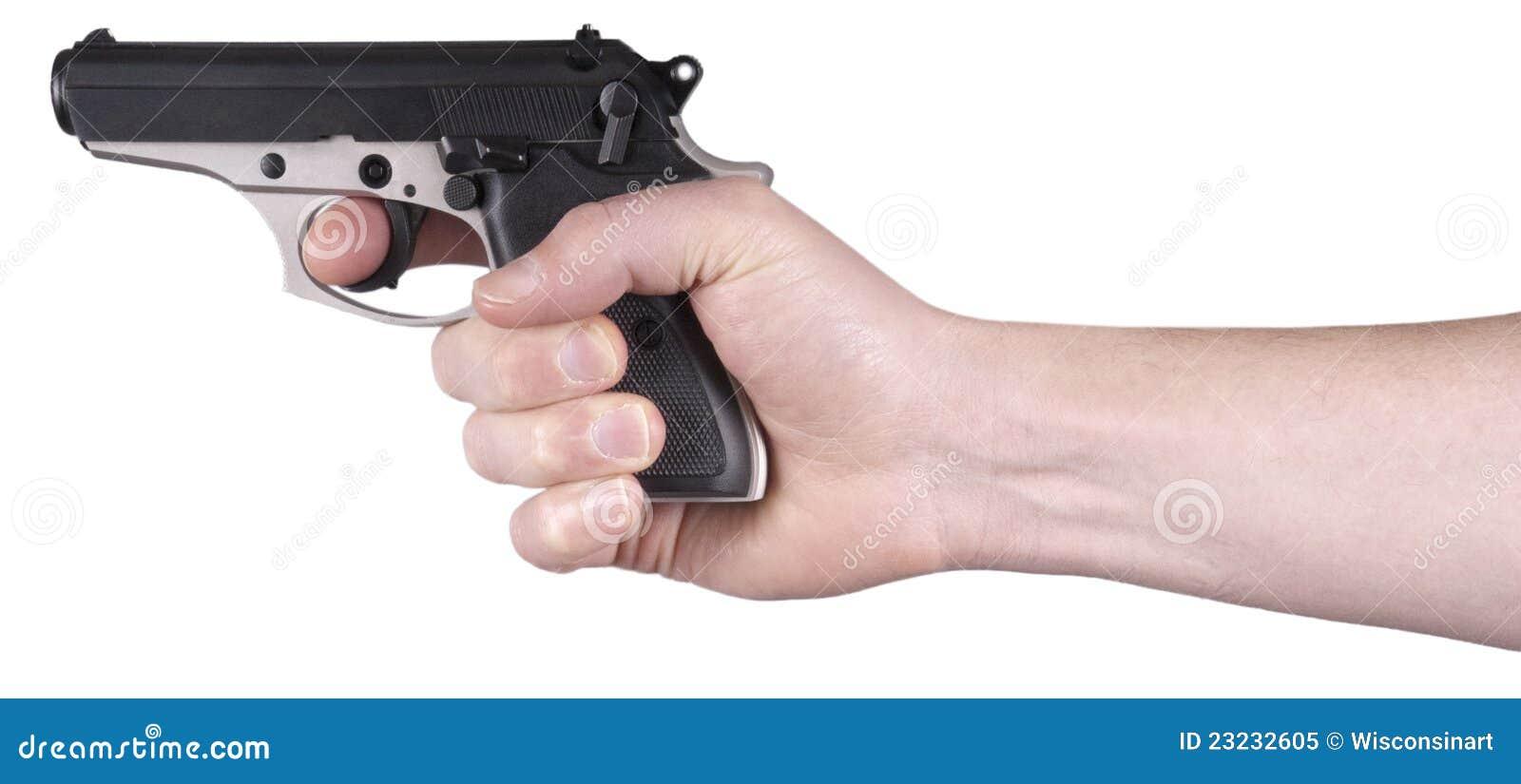 Hand Holding Handgun, Gun, Pistol, Weapon Isolated Stock ...