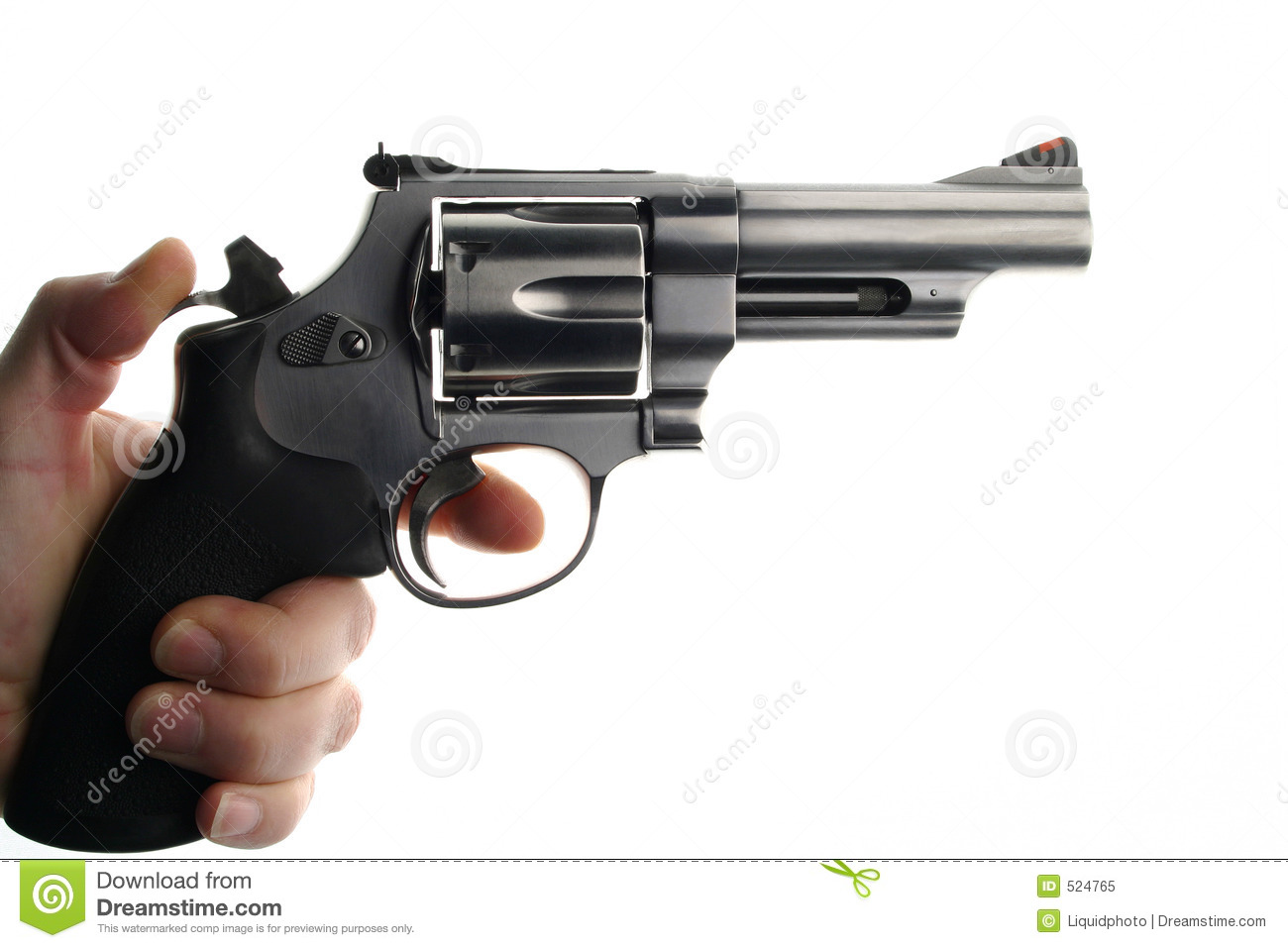 Details of a hand holding a cocked 44 magnum handgun or pistol. White ...