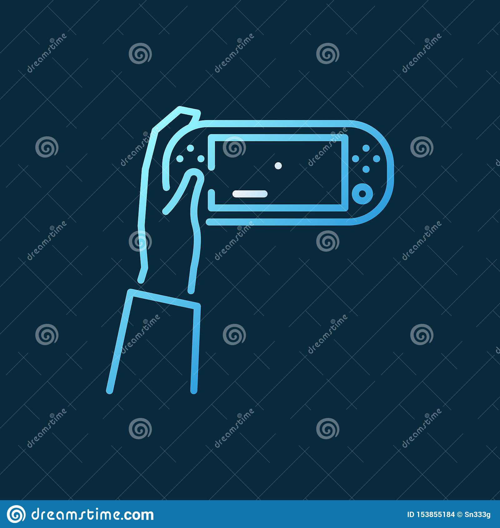 Hand Holding Handheld Game Console Vector Colored Line ...