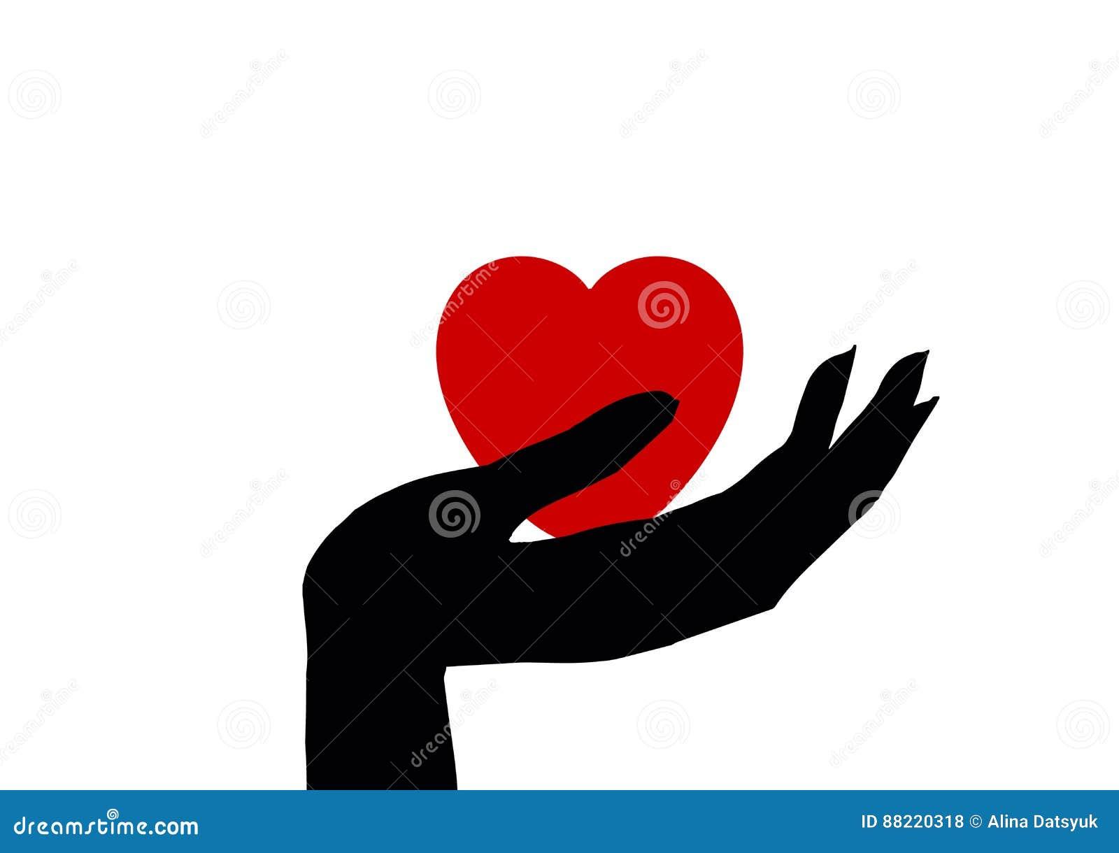 Hand Holding Heart Icon Isolated Symbol Stock Illustration