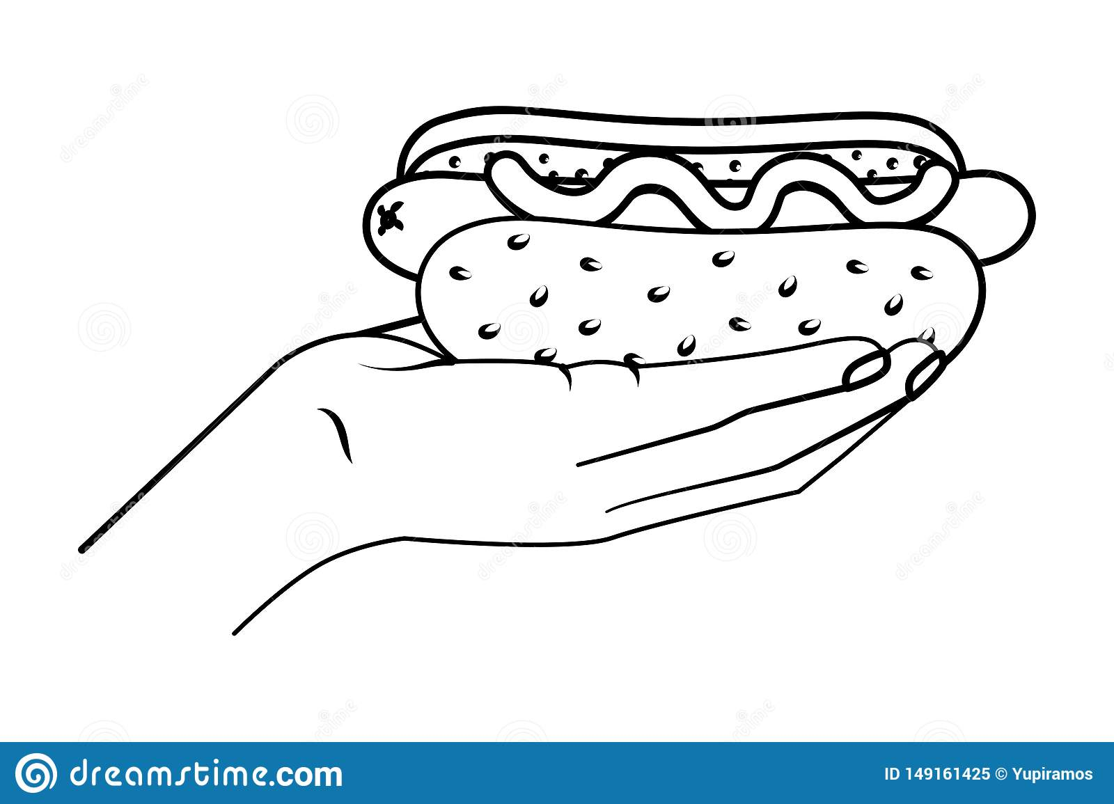 Hand Holding Hot Dog Black And White Stock Vector Illustration Of Holding Grilled 149161425