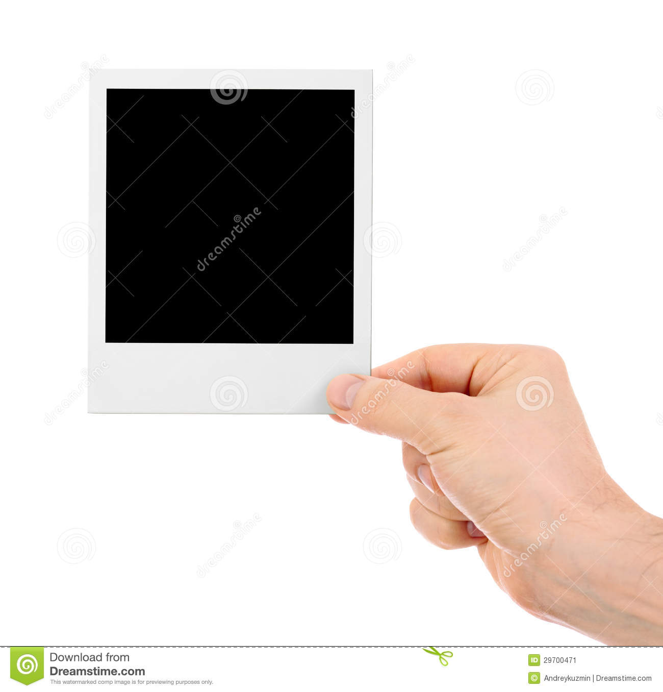 hand holding instant shot frame isolated