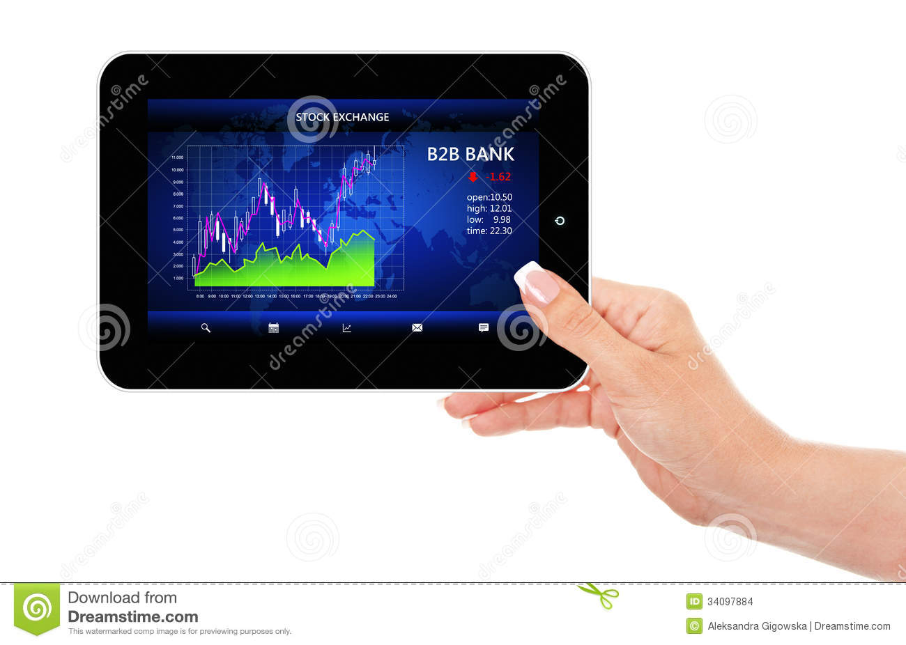 Hand Holding Ipad With Stock Market Chart Stock Images ...