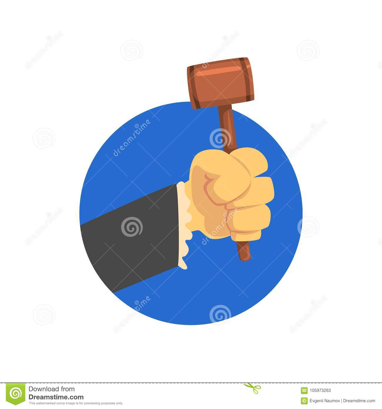 Hand holding judges gavel, wooden hammer of judge or auctioneer cartoon vector Illustration