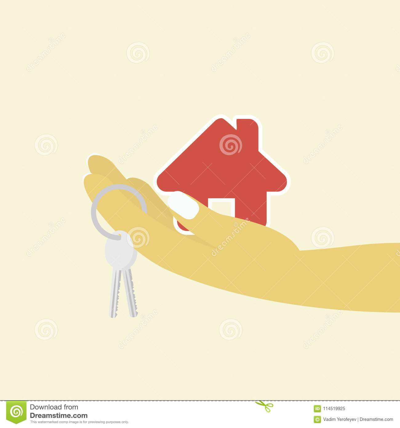 Woman Hand With House Key And Cottage On The Background Stock Vector