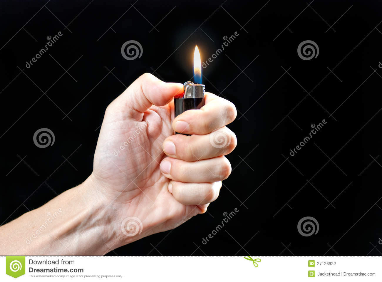 Hand Holding Lit Lighter