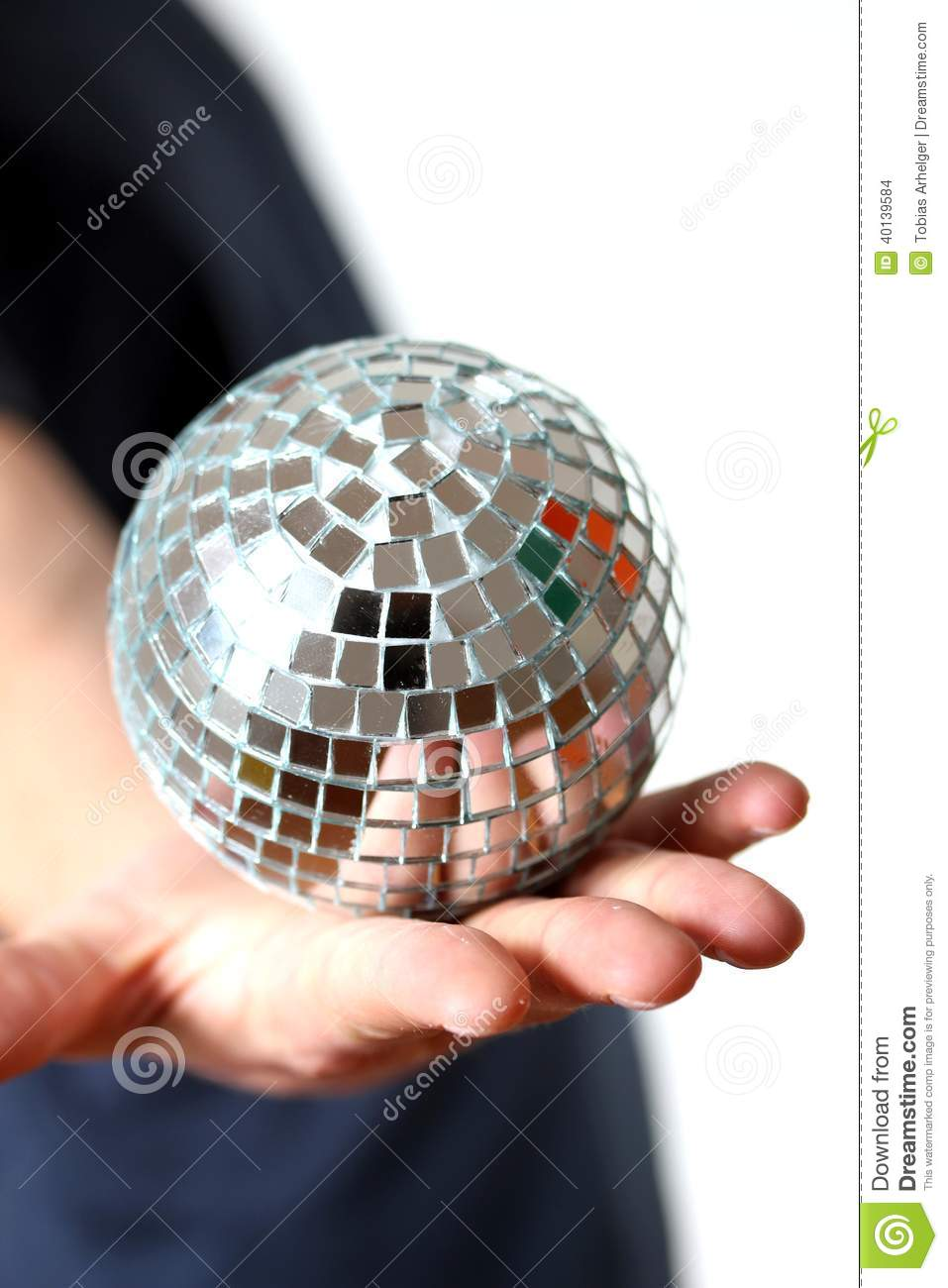 Hand Holding A Little Mirror Ball Stock Photo Image