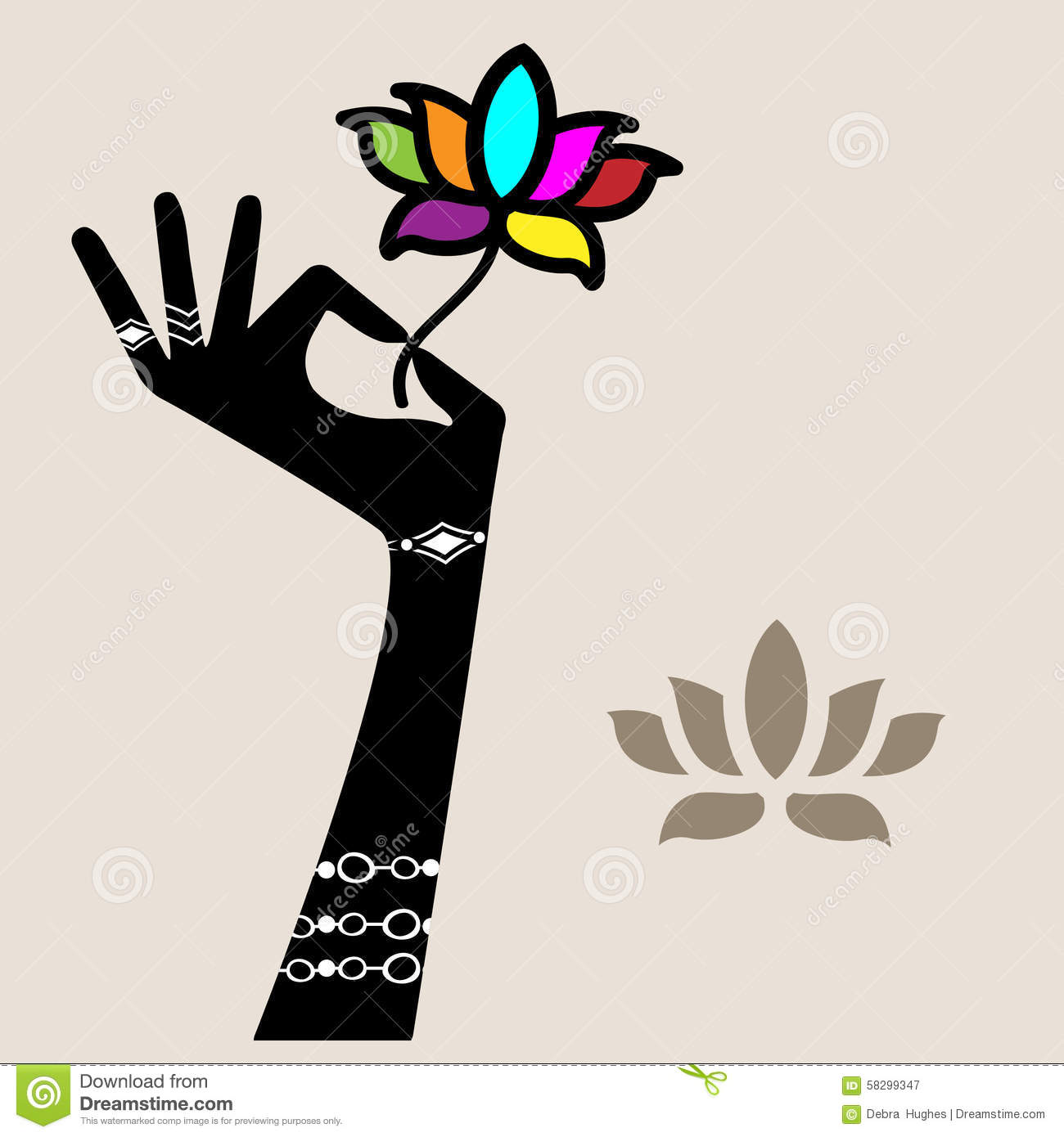 Hand Holding Lotus Flower Stock Vector Illustration Of Embroidery