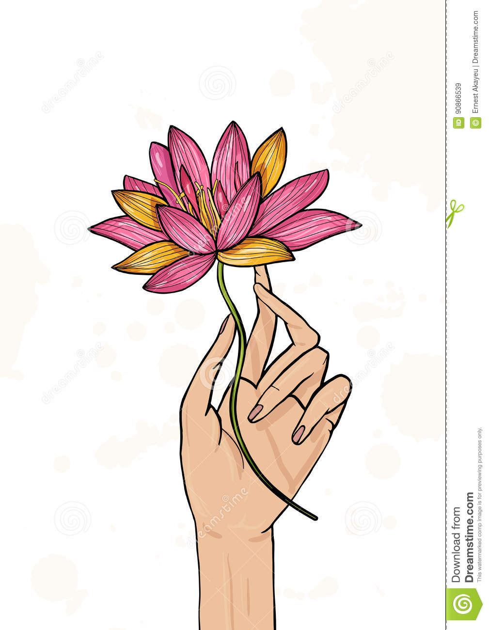 Hand Holding Lotus Flower Colorful Hand Drawn Illustration Yoga