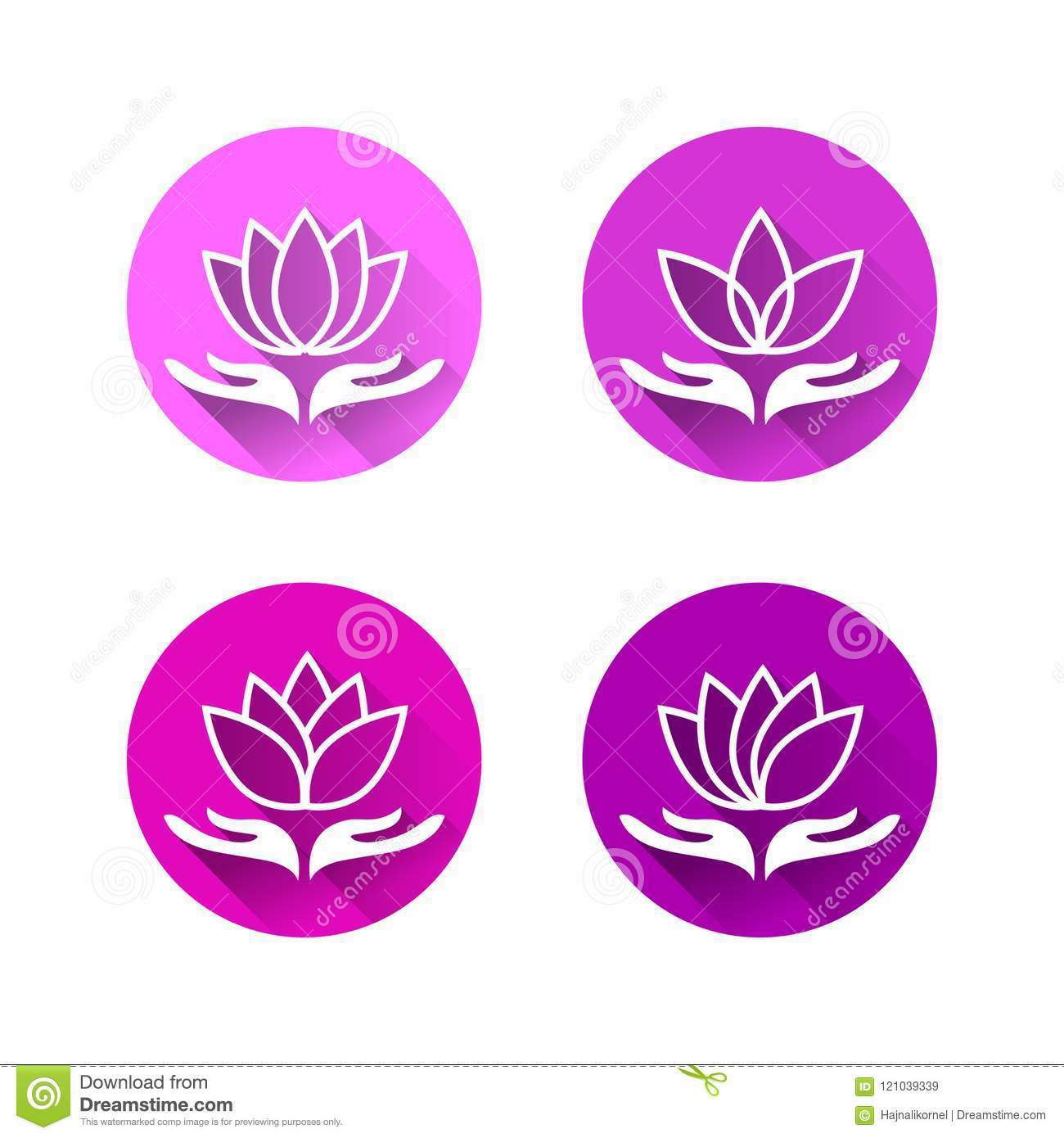 Hand Holding Lotus Flower In Flat Design Stock Vector Illustration