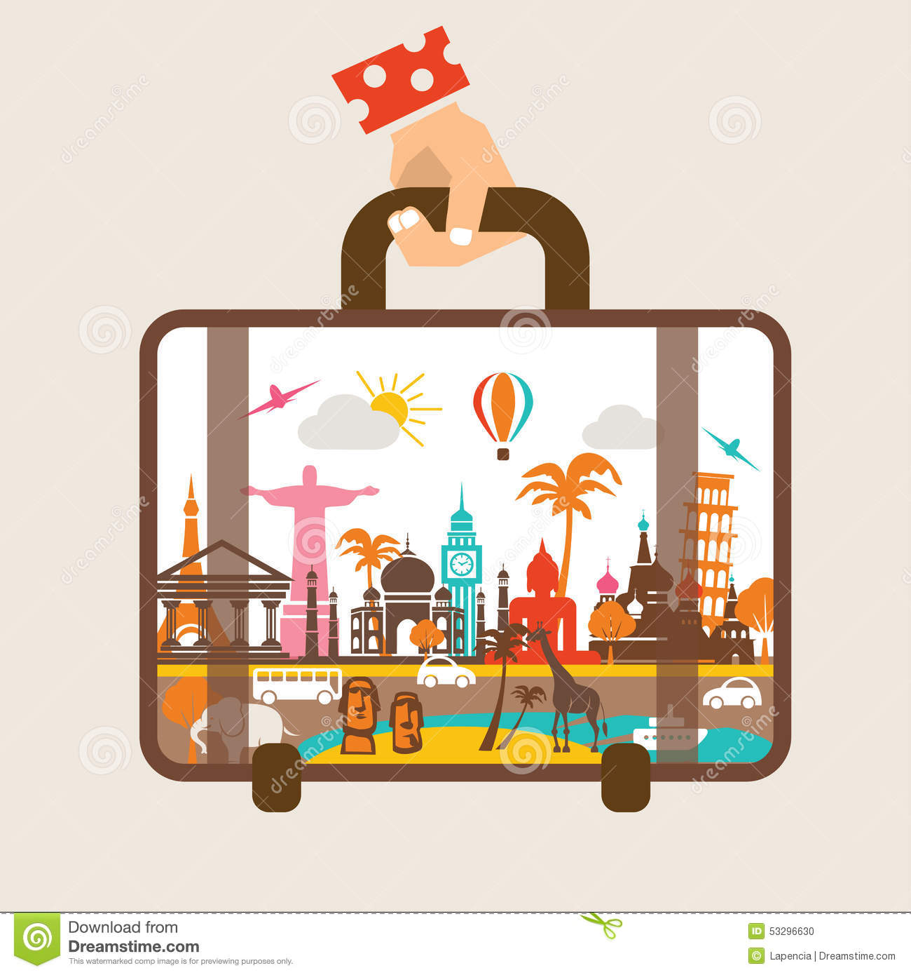 Hand holding luggage, travel around the world