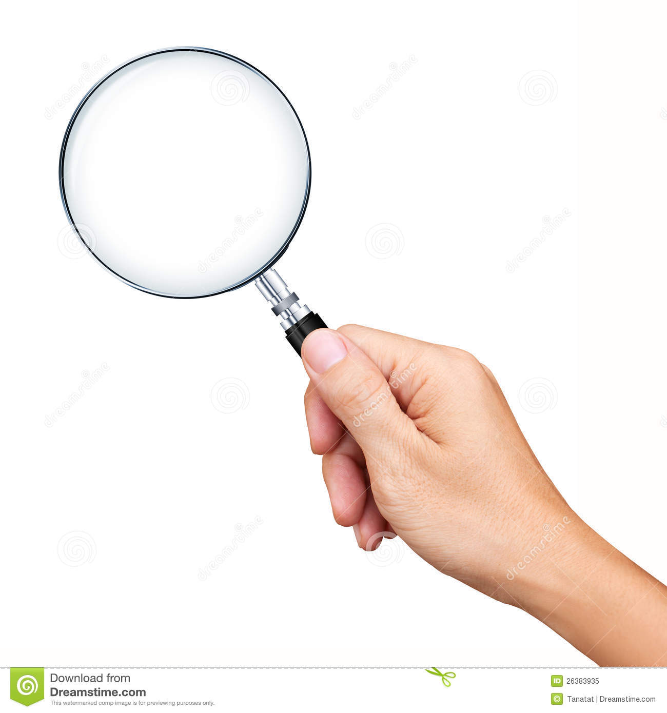 Hand Holding Magnifying Glass Isolated Royalty Free Stock